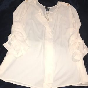 Cream colored top by Lane Bryant with gold buttons